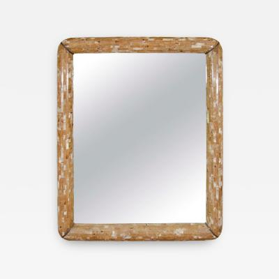 Sensational Monumental Tessellated Horn Wall Mirror with Bronze Accents