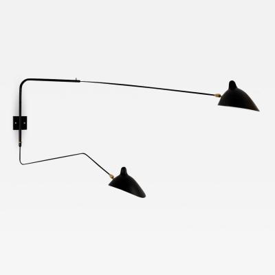 Serge Mouille Large Serge Mouille 2 Arm Wall Lamp with Straight and Curved Rotating Arms