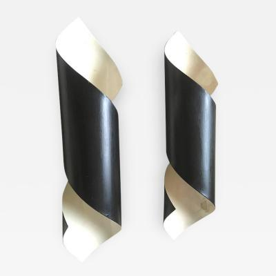 Serge Mouille Pair of Black Tole Witty Sconces in the Style of Serge Mouille