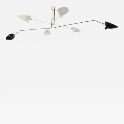 Serge Mouille Serge Mouille Black and White 6 Arm Ceiling Lamp