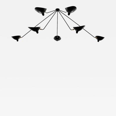 Serge Mouille Serge Mouille Black and White 7 Arm Spider Ceiling Lamp