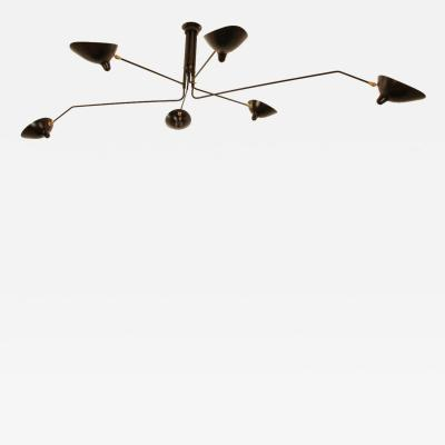 Serge Mouille Serge Mouille Black or White 6 Arm Ceiling Lamp