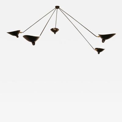 Serge Mouille Spider Ceiling Lamp with Five Arms by Serge Mouille