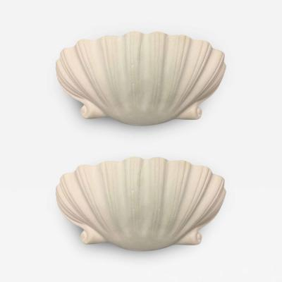 Serge Roche 2 Pairs Mid Century Modern Plaster Shell Wall Sconces Attributed to Serge Roche