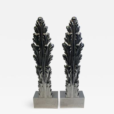 Serge Roche ART DECO CHROMED BRONZE ACANTHUS LEAF TABLE LAMPS IN THE MANNER OF SERGE ROCHE