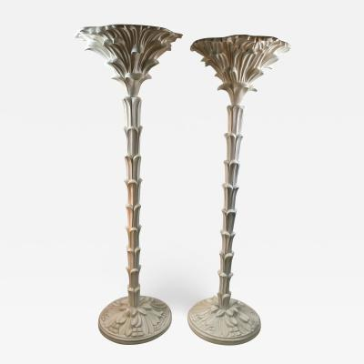 Serge Roche Exceptional Pair of Carved Wood Floor Lamps in the Manner of Serge Roche