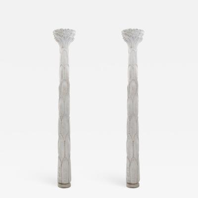 Serge Roche Pair of French Art Deco White Plaster Pilasters