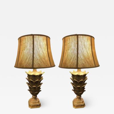 Serge Roche Pair of Palm Tree Form Carved Wooden Table Lamps Manner of Serge Roche
