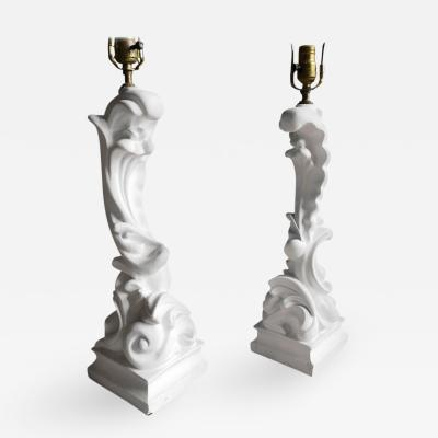 Serge Roche Pair of Plaster Table Lamps Serge Roche
