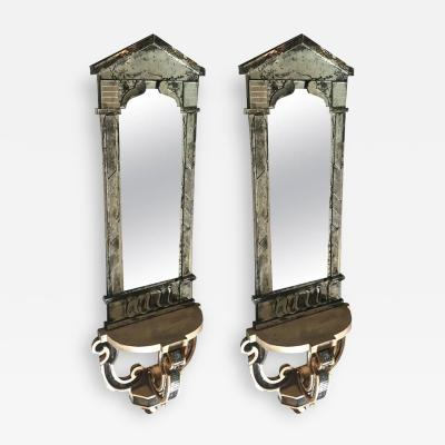 Serge Roche Serge Roche Attributed Pair of 1940s Baroque Oxidized Mirror Wall Consoles