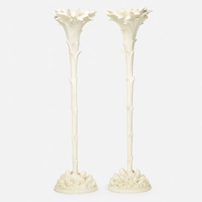 Serge Roche WHITE PAINTED PAIR OF TORCH RES IN THE MANNER OF SERGE ROCHE