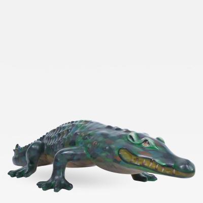 Sergio Bustamante Sergio Bustamante Paper Mache Colorful Cute Crocodile Sculpture Mexico 1970s