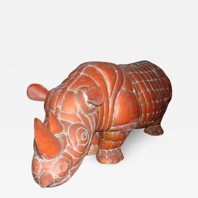 Sergio Bustamante Signed Brass and Copper Rhino by Mexican Artist Sergio Bustamante