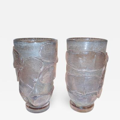 Sergio Costantini 1990s Costantini Italian Pair of Silver Gray Pink Murano Alexandrite Glass Vases