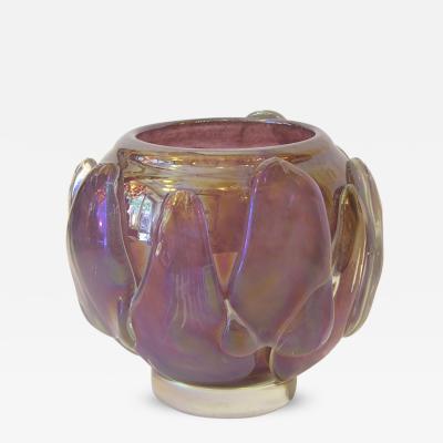 Sergio Costantini Sculptural Art Deco Design Amethyst Murano Glass Vase