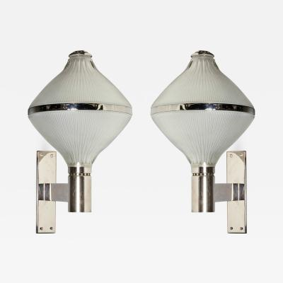 Sergio Mazza Mid Century Modern Silver Plated Glass Sconces by Sergio Mazza for Artemide