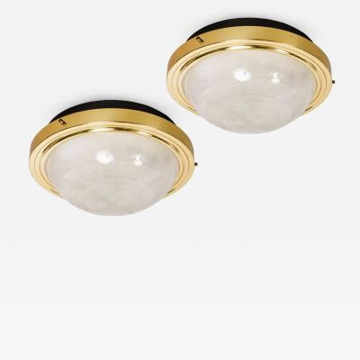 Sergio Mazza Pair of 1960s Sergio Mazza Brass Glass Wall or Ceiling Lights for Artemide