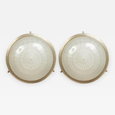 Sergio Mazza Pair of 1960s Sergio Mazza Petite Sigma Wall or Ceiling Lights for Artemide