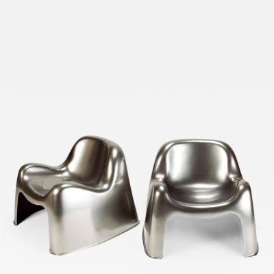 Sergio Mazza Pair of Metallic Sergio Mazza Toga Lounge Chairs