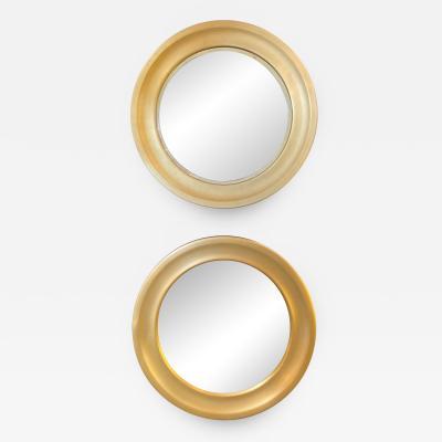 Sergio Mazza Pair of Sergio Mazza Round Mirrors Golden Aluminum Italian Design 1960s Satin