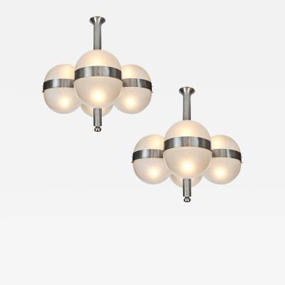 Sergio Mazza Pair of Sergio Mazza Tetraclio Chandeliers for Artemide 1960s