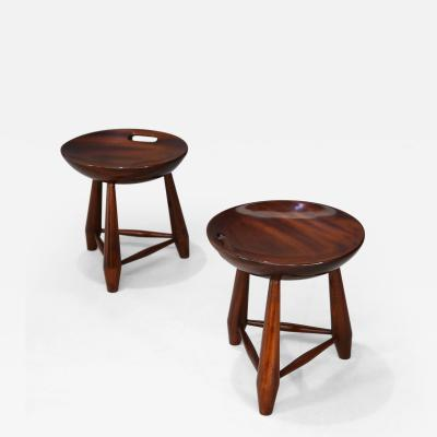 Sergio Rodrigues Rare Pair of wooden stools Mocho by sergio Rodrigues from 1950 restored