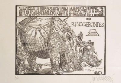 Sergio Sanchez Santamaria Rinocerontes Wood Engraving by Sergio Sanchez Santamaria Homage to Durer