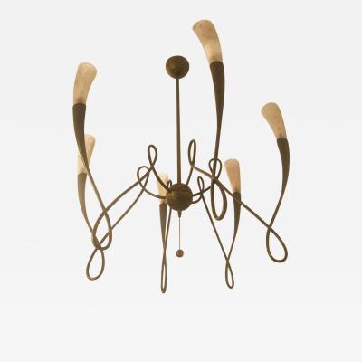 Sergio Terzani Italian Brass and Artistic Glass Shades Chandelier by Terzani