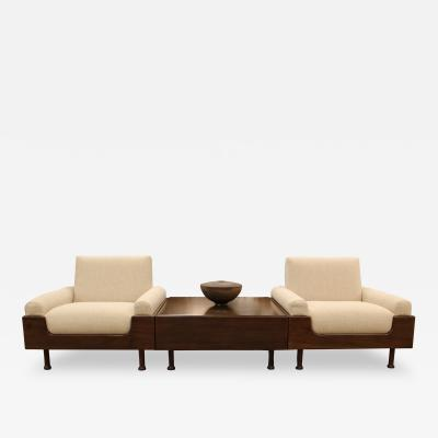 Sergio Zalszupin Set of Sergio Zalszupin Attributed Brazilian Rosewood Pair of Chairs and Table