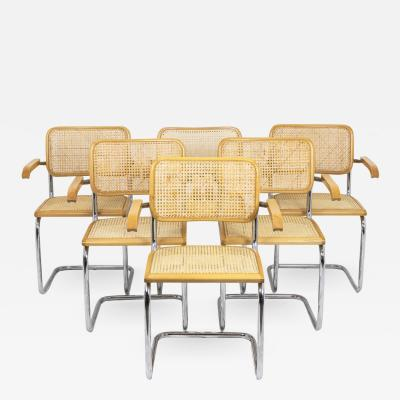 Series of six armchairs Cesca in beech blond 1970s