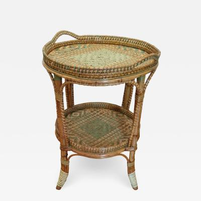 Serving table in woven and lacquered rattan France circa 1900
