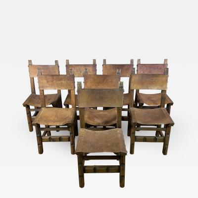 Set Eight Early 1900s Spanish Leather Dining Chairs