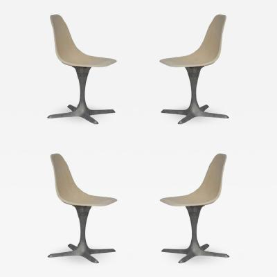 Set Of 4 American 70s Brushed Aluminum And Eggshell Chairs