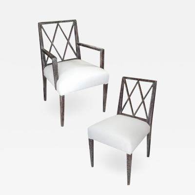 Set Of Cerused Dining Chairs