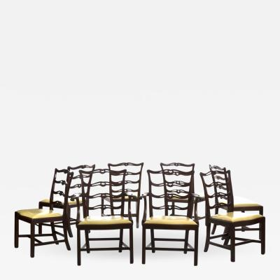 Set Of Eight Chippendale Style Mahogany Dining Chairs 20th Century