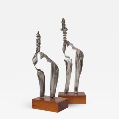Set Two Cast Aluminum Modernist Abstract Sculptures
