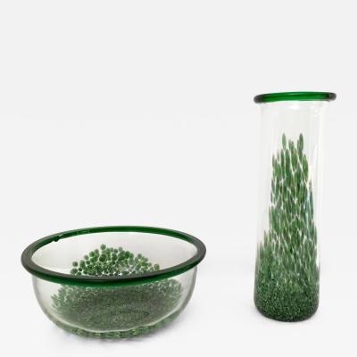 Set by Gae Aulenti Murano Murrines Glass Vase for Vetreria Vistosi Italy 1970s