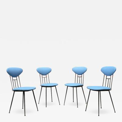 Set light blue leatherette chair 1950s