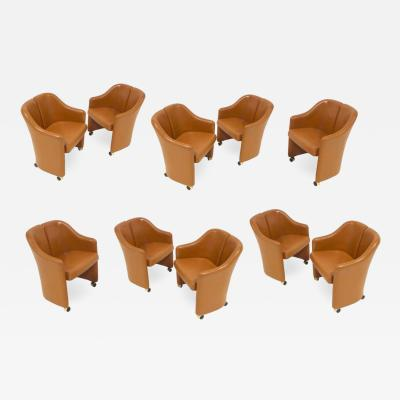 Set of 10 Eugenio Gerli for Tecno Series 142 Executive Leather Dining Chairs