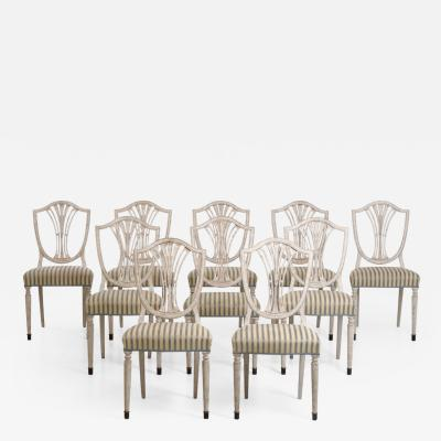 Set of 10 European chairs with bronze feets circa 100 years old