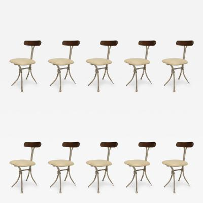 Set of 10 French Mid Century Modern Wrought Iron Silver Painted Cafe Chairs