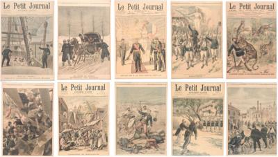Set of 10 framed covers of Le Petit Journal 1900 french newspaper