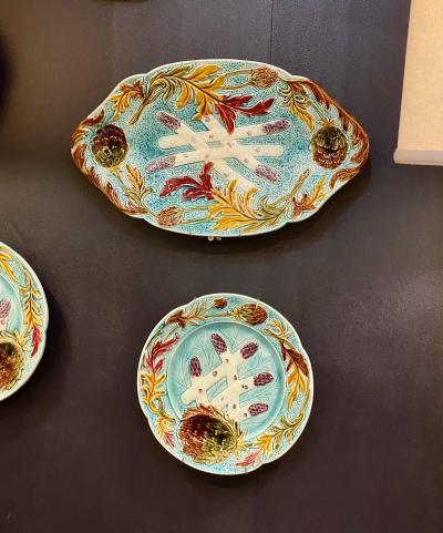 Set of 11 French Majolica Asparagus Plates