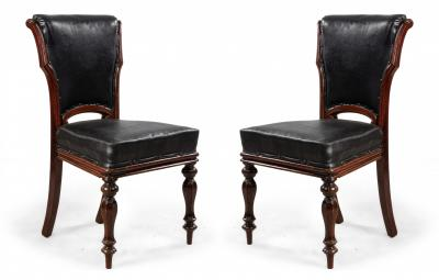 Set of 12 English William IV Style Walnut and Black Leather Dining Chairs