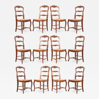 Set of 12 French Early 20th Century Rush Seat Chairs