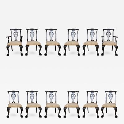 Set of 12 Irish George II Style Elm Chairs circa 1880