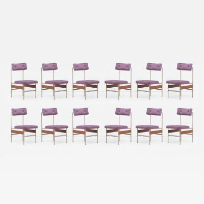 Set of 12 Upholstered Dining Chairs Italy 1960s