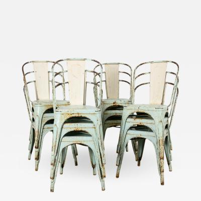 Set of 12 painted tolix chairs