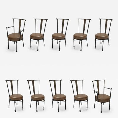Set of 1980s Iron Armchairs and Side Chairs