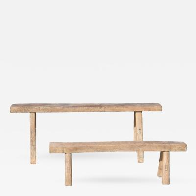 Set of 2 Rustic Country Benches
